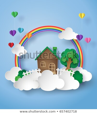 Regenboog hart ballonnen 3d render witte liefde Stockfoto © ixstudio