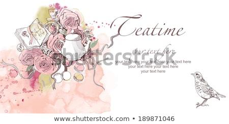 doodle background for tea time Stock photo © Elmiko