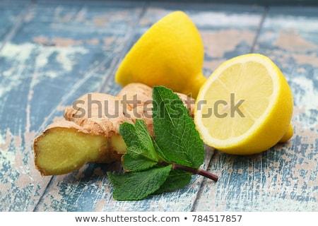 Foto stock: De · gengibre · limão · preto · fruto · vidro