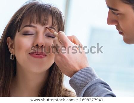 Jóvenes mujer atractiva maquillaje ceja polvo sombra Foto stock © juniart