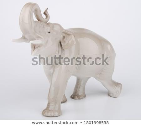 ahşap · fil · heykelcik · Tayland · yalıtılmış · beyaz - stok fotoğraf © designsstock