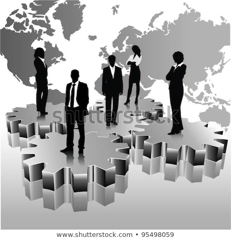 business people team standing on 3d gears with globe  Stock photo © designers