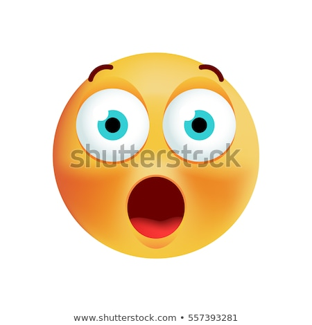 Emoticon surpreendido amarelo branco olho preto Foto stock © mariephoto