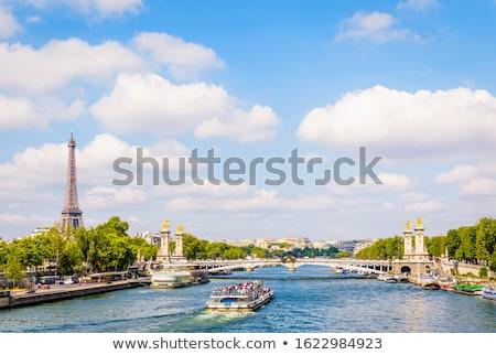 Сток-фото: Paris Barge On The Seine And Eiffel Tower