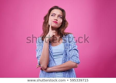 Güzel genç kadın düşünme yalıtılmış beyaz yüz Stok fotoğraf © restyler