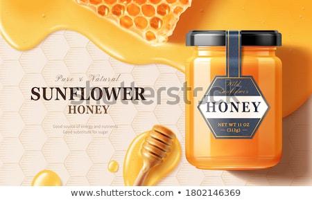 Honingraat honing glas tarwe goud plant Stockfoto © mady70