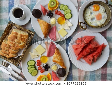 Light meal of salami, ham and feta cheese Stock photo © raphotos