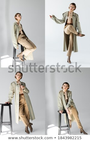 woman leaning on a stool while sitting on it Stock photo © feedough