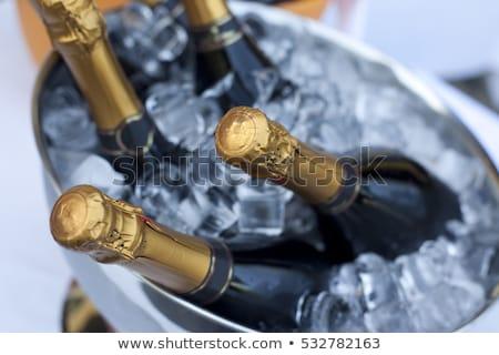 üveg · pezsgő · hó · tele · tél · szemüveg - stock fotó © pressmaster