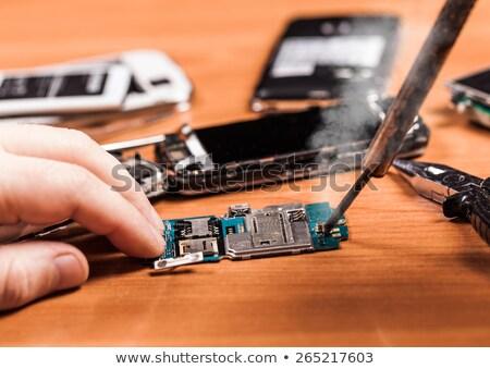 de · solda · mulher · ferramenta · computador · trabalhando - foto stock © oleksandro