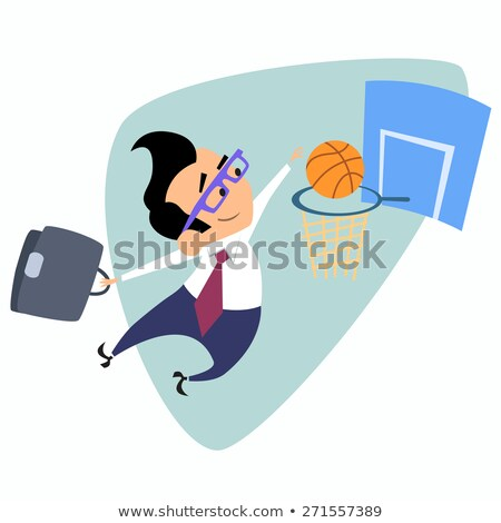 Businessman throws a basketball into the basket business theme s Stock photo © studiostoks