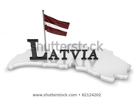 Letland vlag kaart land vorm Stockfoto © tony4urban