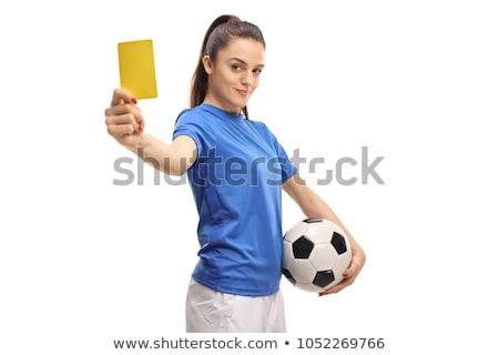 Kadın hakem kart portre futbol Stok fotoğraf © AndreyPopov