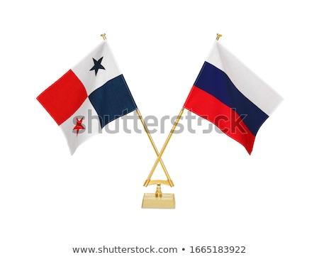 Rusya Panama minyatür bayraklar yalıtılmış beyaz Stok fotoğraf © tashatuvango