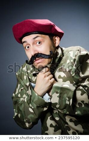 Komik asker mizah adam arka plan tabanca Stok fotoğraf © Elnur
