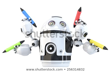 Stock photo: Four-armed robot with pencils. Multitasking concept. Isolated. Contains clipping path.