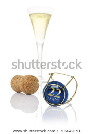 Pezsgő sapka felirat 22 évek születésnap Stock fotó © Zerbor