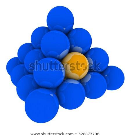 orange ball in blue sphere pyramid stack stock photo © iqoncept