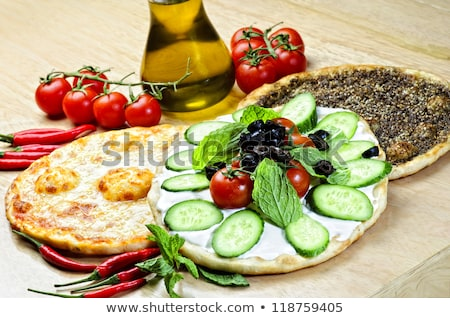 Libanon pizza grond vlees selectieve aandacht tabel Stockfoto © zoryanchik