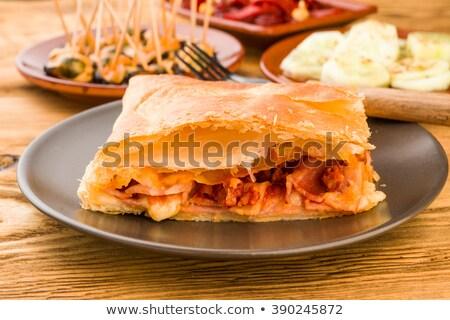 puff ham patty,cheese and cucumber Stock photo © fanfo