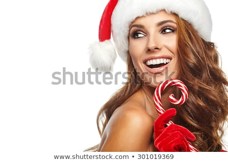 mulher · sexy · seis · surpreendido · natal · presentes - foto stock © choreograph