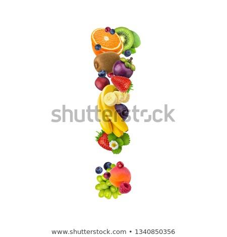 Felkiáltójel gyümölcsök étel természet alma levél Stock fotó © frescomovie