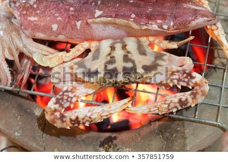 Friss tintahal barbeque étel háttér asztal Stock fotó © art9858