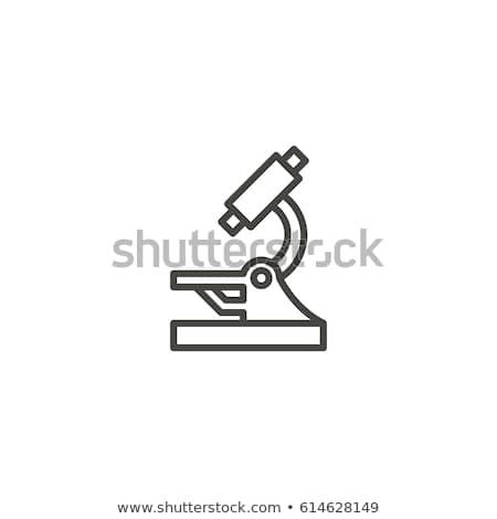 tıbbi · ekipman · mikroskop · vektör · ince · hat · ikon - stok fotoğraf © rastudio