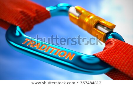 Tradition on Blue Carabiner between Red Ropes. Stock photo © tashatuvango