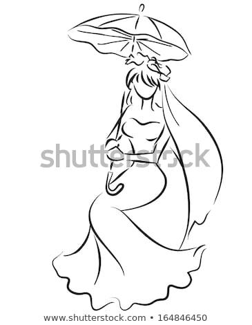 Stockfoto: Mooie · bruid · trouwjurk · witte · paraplu · poseren