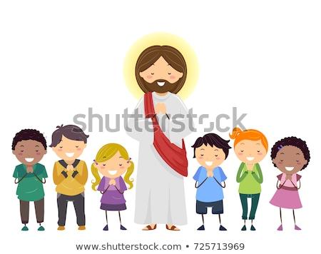 çocuklar dua İsa örnek kız gün batımı Stok fotoğraf © adrenalina