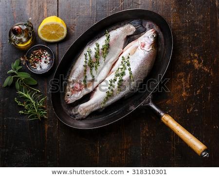 Pan pstrąg biały żywności tablicy Zdjęcia stock © Digifoodstock