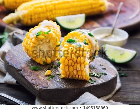 gotowany · kukurydza · masło · soli · hot · obiad - zdjęcia stock © digifoodstock