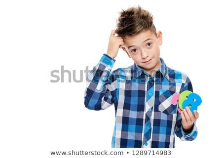Fej problematikus fiú fehér arc háttér Stock fotó © bluering