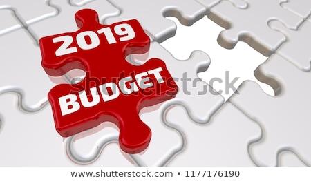 Quebra-cabeça palavra orçamento peças do puzzle construção brinquedo Foto stock © fuzzbones0