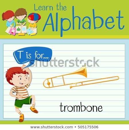 Flashcard letter T is for trombone Stock photo © bluering