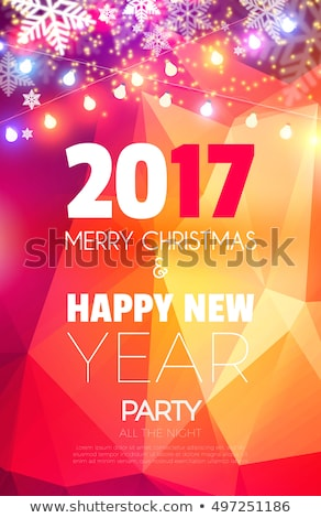 2017 new year party flyer template on glowing pink background Stock photo © SArts