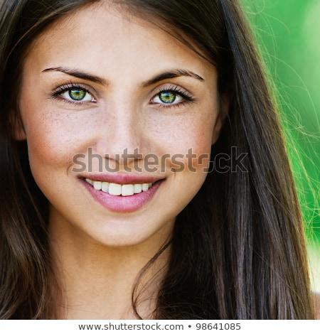 Retrato jóvenes hermosa niña oscuro nina feliz Foto stock © ISerg