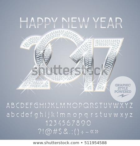 happy new year 2017 design template in silver style Foto d'archivio © SArts