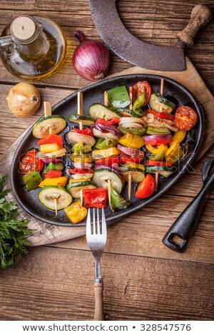 Courgettes tomate brochette été mode de vie fraîches Photo stock © M-studio