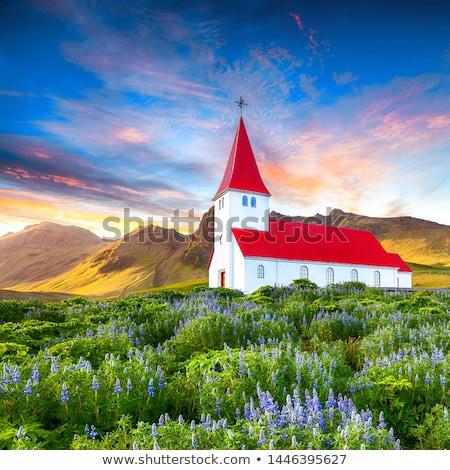 Kilise köy Avrupa panorama plaj bulutlar Stok fotoğraf © vichie81