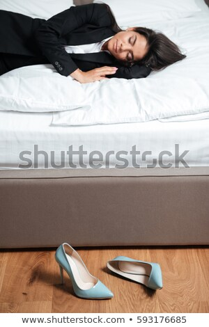 устал бизнеса Lady кровать трудный Сток-фото © deandrobot