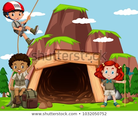 Foto stock: Crianças · camping · fora · caverna · ilustração · criança
