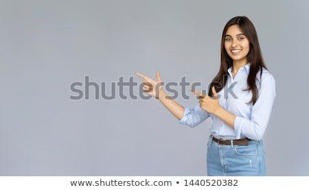 ストックフォト: Banner Of Beautiful Expressive Student Or Businesswoman With Pen