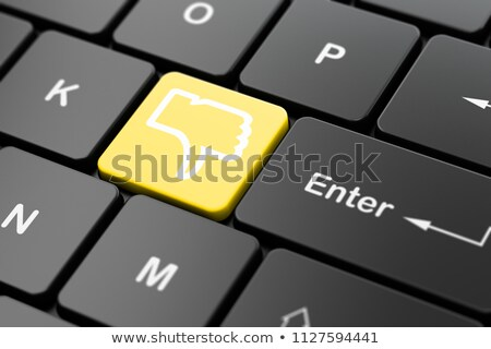 keyboard with yellow button   social connections 3d render stock photo © tashatuvango