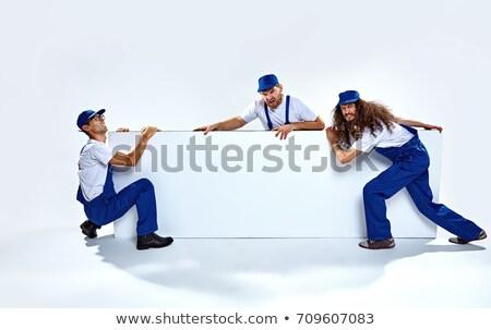 Drie grappig lege boord jonge Stockfoto © majdansky