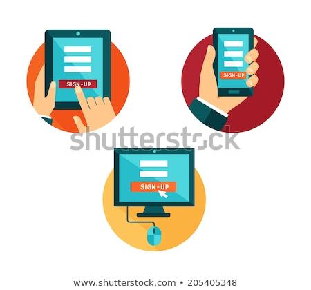 most · online · dolgozik · laptop · képernyő · üzlet - stock fotó © tashatuvango