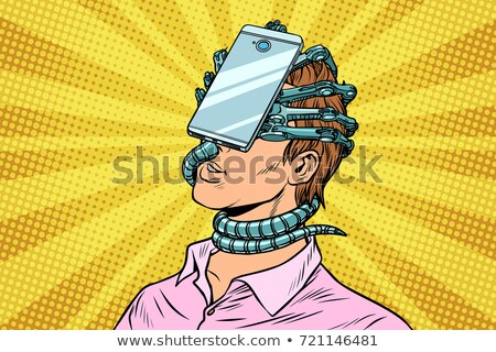 man absorbed in virtual reality smartphone Stock photo © studiostoks