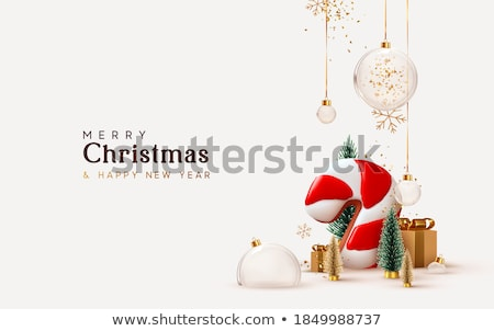 vector merry christmas illustration with ornamental balls and pine branch on shiny red background h stock photo © articular