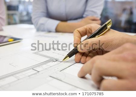 Hand blauwdruk business architectuur Stockfoto © dolgachov